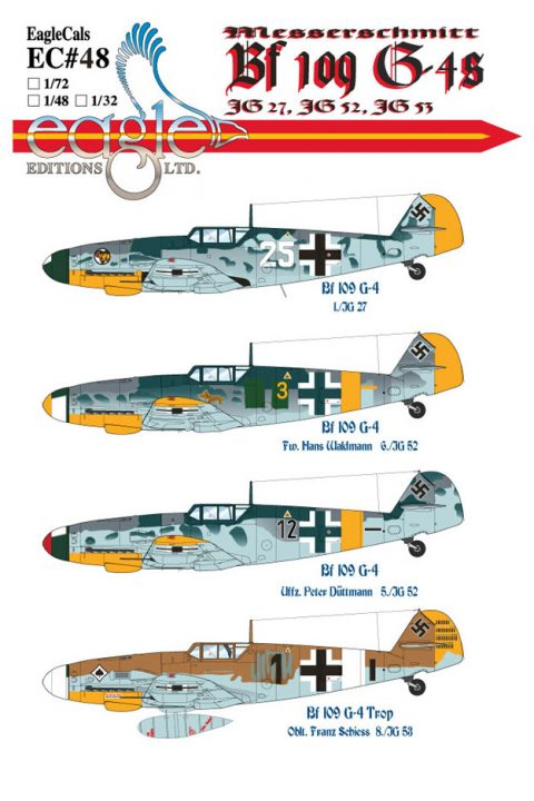 EagleCals #48-32 Bf 109 G-4 and G-6-0