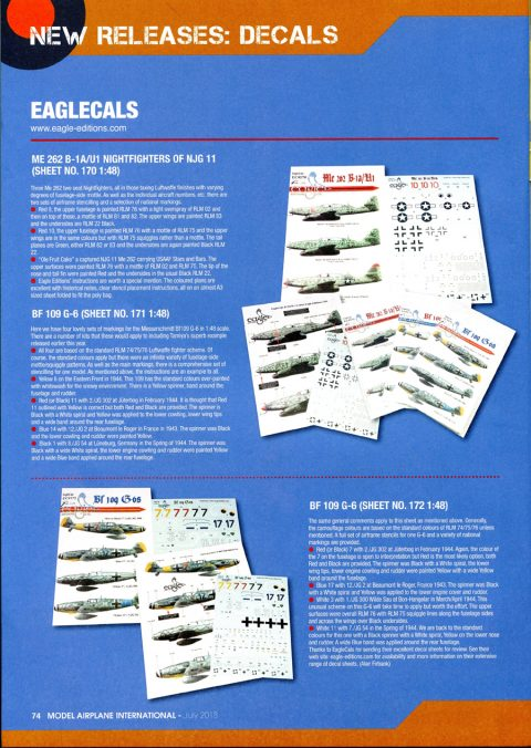 EagleCals #170 Me 262 B-1a/U1 in 72nd scale -3100